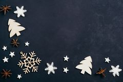 Christmas decorations on black table, copy space royalty free stock photos