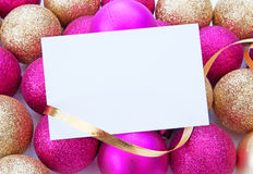 Christmas decorations and blank card Royalty Free Stock Image