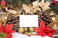 Christmas decorations and blank greeting card Stock Photos