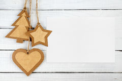 Christmas decorations and blank greeting card Stock Image