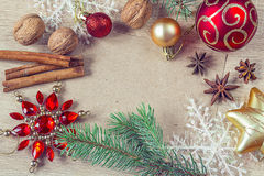 Christmas decorations with blank paper Stock Photo