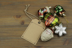 Christmas decorations and blank price tag Royalty Free Stock Image