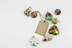Christmas decorations and blank price tag Stock Images