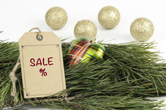 Christmas decorations and blank price tag Royalty Free Stock Photos
