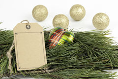 Christmas decorations and blank price tag Stock Photo
