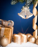 Christmas decorations on blue Stock Photography