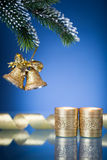 Christmas decorations on blue Stock Photo