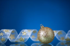 Christmas decorations on blue Stock Photos