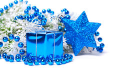 Christmas decorations in blue. Christmas composition in blue isolated on white Royalty Free Stock Images