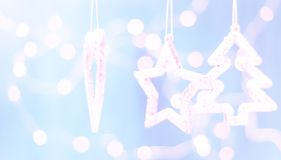 Christmas decorations on a blue abstract background, Space for text. stock photo