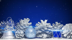 Christmas decorations on blue background Stock Image