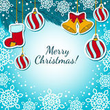Christmas decorations on a blue Background Stock Images