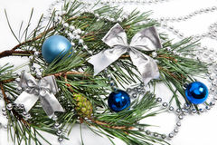 Christmas decorations with blue balls Stock Photography
