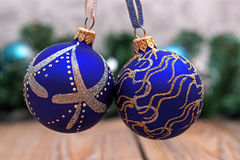 Christmas decorations with blue balls Stock Image