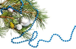 Christmas decorations with blue beads Royalty Free Stock Photos
