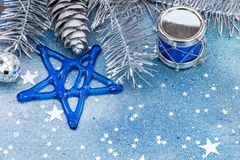 Blue glass star, balls, decorative drum for christmas tree on gl Royalty Free Stock Images