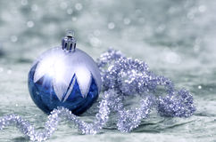 Christmas decorations blue and silver Stock Photo