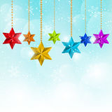 Christmas decorations on blue sky Royalty Free Stock Photo