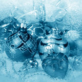 Christmas decorations in blue tone Royalty Free Stock Photo