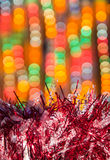 Christmas decorations with blurry lights Stock Image