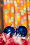 Christmas decorations with blurry lights Royalty Free Stock Photo