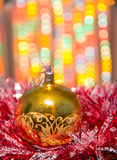Christmas decorations with blurry lights Royalty Free Stock Image