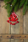 Christmas decorations on boards Royalty Free Stock Images