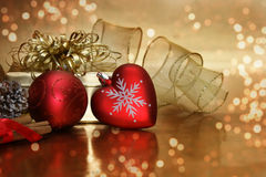 Christmas decorations and bokeh lights Stock Image