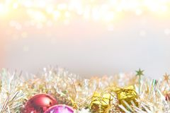 Christmas decorations with bokeh lights on white background stock image