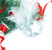 Christmas Decorations Border. Over White. Not Isolated. With Blank Space Royalty Free Stock Photos