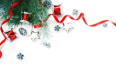 Christmas Decorations Border. Not Isolated. With Copyspace Stock Photos