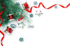 Christmas Decorations Border. Not Isolated. With Copyspace Stock Photo