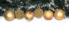 Christmas Decorations border isolated on white background Stock Photos