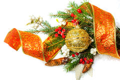 Christmas Decorations border over white Stock Photo