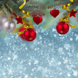 Christmas decorations border on  snow background Stock Photography