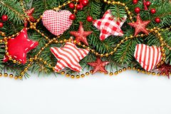 Christmas Decorations Border on White Background Stock Photo