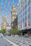 Christmas Decorations, Bourke Street, Melbourne, Australia. Stock Photos