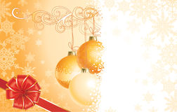 Christmas with decorations and bow / vector Royalty Free Stock Photo