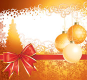 Christmas  with decorations and bow / vector Royalty Free Stock Images