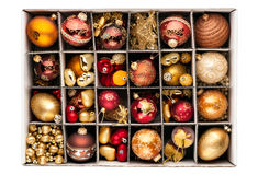 Christmas decorations in a box Royalty Free Stock Photography