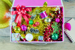 The Christmas decorations in a box royalty free stock photography