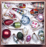 Christmas decorations in a box Royalty Free Stock Photos