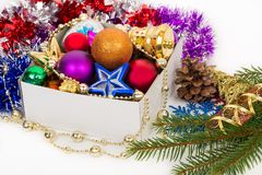 Christmas decorations in box Royalty Free Stock Photography