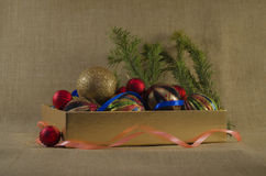 Christmas decorations in box Stock Photo