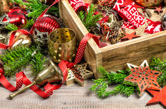 Christmas decorations box with stars, toys and ornaments Stock Photos