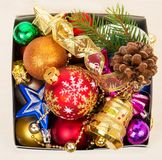 Christmas decorations in box Stock Photos