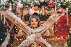 Christmas decorations and boy royalty free stock photo