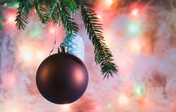 Christmas decorations on the branch. The background of the frosted glass. Stock Image