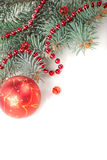 Christmas decorations with branch of tree Royalty Free Stock Photos