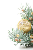 Christmas decorations with branch of tree on white Royalty Free Stock Images